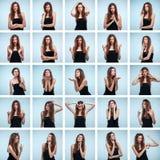 Reeks van jonge woman& x27; s portretten met verschillende emoties stock afbeelding