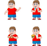Reeks van jongen die ongezonde kost eten vector illustratie