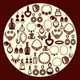 Reeks van Juwelen en parfumpictogrammensilhouet Stock Fotografie