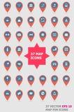 Reeks van Kaart Pin Icons Stock Foto's