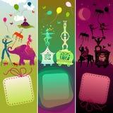 Reeks van 3 kaarten met grappige circuscaravan Stock Foto's