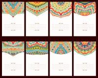 Reeks van 8 Kaarten met Oosterse Ornamenten Royalty-vrije Stock Foto