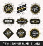 Reeks van kader en etiket met uitstekend zonnestraalontwerp Royalty-vrije Stock Foto's