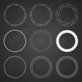 Reeks van 9 kaders van de cirkelzomer, grenzen stock afbeeldingen