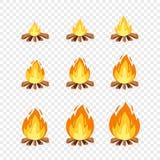 Reeks van kampbrand sprites voor animatie Vector het vuur brandende kaders van de beeldverhaalillustratie Explosie, toorts, vlamm royalty-vrije illustratie