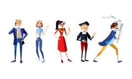 Reeks van karakters volledig lichaam Mannelijke en vrouwelijke karakters van verschillende beroepen Businessoman zakenman, freela stock illustratie