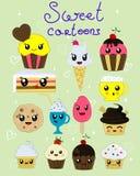 Reeks van kawaii vier cupcakes Royalty-vrije Stock Fotografie