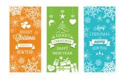 Reeks van Kerstmis 3 en Gelukkige Nieuwjaaretiketten Royalty-vrije Stock Afbeeldingen