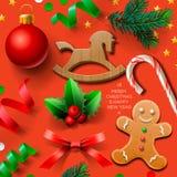 Reeks van Kerstmiselement Royalty-vrije Stock Afbeeldingen