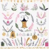 Reeks van Kerstmishand getrokken bloemenreeks Ontwerpelementen, decoratie, laurier, kroon en vakantie Stock Afbeelding