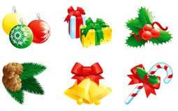 Reeks van Kerstmispictogram Stock Fotografie