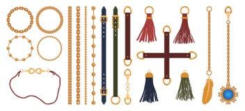 Reeks van kettingen, riemen en riemen, vlecht en tegenhanger De elementendruk van manierjuwelen voor stoffenontwerp Vector stock illustratie