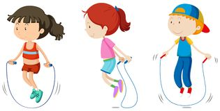 Reeks van kinderen het overslaan vector illustratie