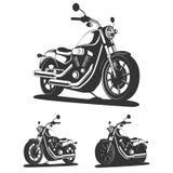 Reeks van klassieke motorfiets in vector Zachte nadruk Stock Afbeeldingen