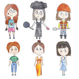 Reeks van kleine meisjes in diverse beelden Stock Afbeelding