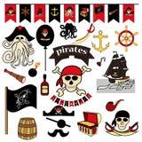 Reeks van 23 kleurenelementen op het piraatthema Piraat symbool-zwaarden, schatborst, schedel en beenderen, Davy Jones royalty-vrije illustratie