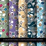 Reeks van 5 kleurenpatronen met bloemen en abstracte decoratieve Gr Royalty-vrije Stock Afbeeldingen