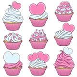 Reeks van kleurenvector cupcakes met harten voorwerpen Stock Foto