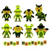 Reeks van kleurrijk, beeldverhaal, grappige monsters, Halloween-viering Stock Fotografie