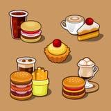 Reeks van kleurrijk beeldverhaal snel voedsel. stock illustratie