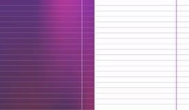 Reeks van kleurrijk purper magenta gradiëntblad met breed de schooldocument van het horizontale lijnennotitieboekje met witte en  Stock Foto's
