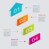 Reeks van kleurrijk tekstvakje met stappen, in kleuren Royalty-vrije Stock Foto's