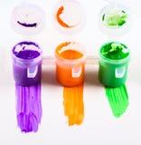 Reeks van kleurrijk vervenclose-up Stock Foto
