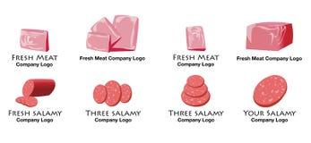 Reeks van kleurrijk vlees en salamiembleem Stock Foto's