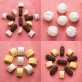 Reeks van kleurrijke achtergrond met verschillend suikergoed en snoepje Chocolade, zefier en marshmellow op roze textuur royalty-vrije stock afbeeldingen