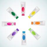 Reeks van kleurrijke buisverf Stock Foto