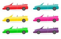 Reeks van kleurrijke cabriolet Stock Foto