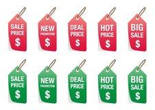Reeks van kleurrijke die prijskaartjevector op wit, etiketten voor kortingsverkoop wordt geïsoleerd Stock Foto