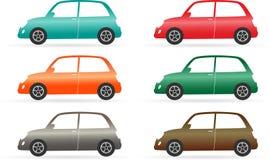 Reeks van kleurrijke geïsoleerde uitstekende auto Stock Afbeeldingen