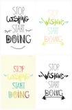 Reeks van kleurrijke hand drijf grunge inspirational affiche, citaat voor huis en bureau Einde die begin het doen wensen Royalty-vrije Stock Fotografie