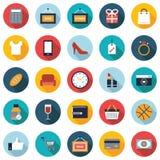 Reeks van 25 kleurrijke het winkelen vlakke pictogrammen Stock Afbeeldingen