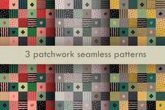 Reeks van 3 kleurrijke lapwerk naadloze patronen Royalty-vrije Stock Afbeelding
