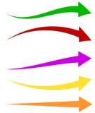 Reeks van 5 kleurrijke pijlvormen Lange, horizontale pijlen royalty-vrije illustratie