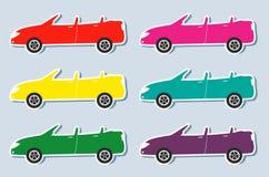Reeks van kleurrijke sportcabriolet Royalty-vrije Stock Foto's