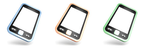 Reeks van kleurrijke touchscreen smartphones op wit Stock Afbeeldingen