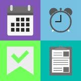 Reeks van klok, kalender en omslag Royalty-vrije Stock Foto