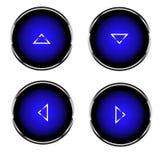 Reeks van 4 knopen met interne verlichting, 4 richtingen van pijlen stock illustratie