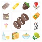 Reeks van Koffie, Bloemkool, Deegwaren, Taco, Zuivelfabriek, Melk, Roomijs, vector illustratie