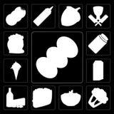 Reeks van Koffie, Bloemkool, Deegwaren, Taco, Zuivelfabriek, Melk, Roomijs, royalty-vrije illustratie