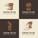 Reeks van koffie om te gaan etiketten Stock Foto