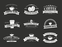 Reeks van koffieembleem met linten Stock Afbeelding
