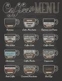 Reeks van koffiemenu in uitstekende stijl met bord