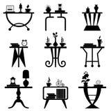 Reeks van Koffietafelsilhouet Royalty-vrije Stock Afbeeldingen