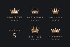Reeks van koninklijk gouden kronenpictogram en embleem Royalty-vrije Stock Afbeelding