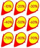 Reeks van korting lables in rood en geel Royalty-vrije Stock Foto's