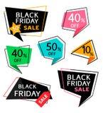 Reeks van kortingssticker en prijskaartje voor het zwarte ontwerp van de vrijdagverkoop Vector illustratie Royalty-vrije Stock Afbeelding